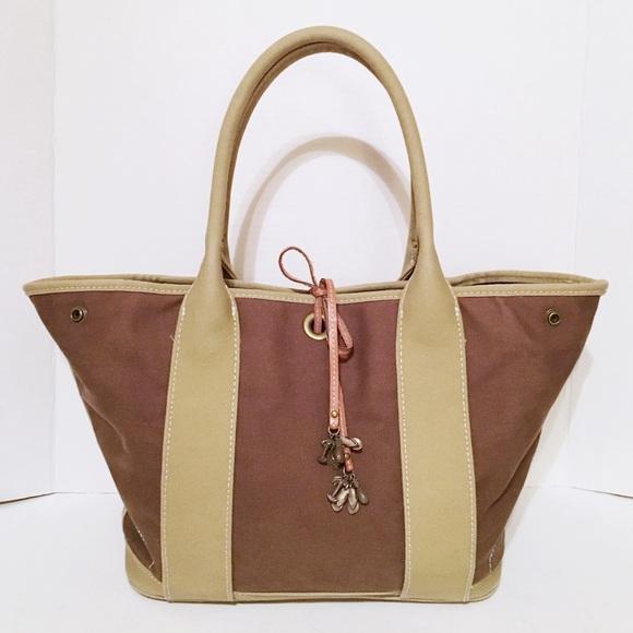 J. Crew Handbags - J Crew Taupe/Gray Canvas Snap Side Tote Handbag